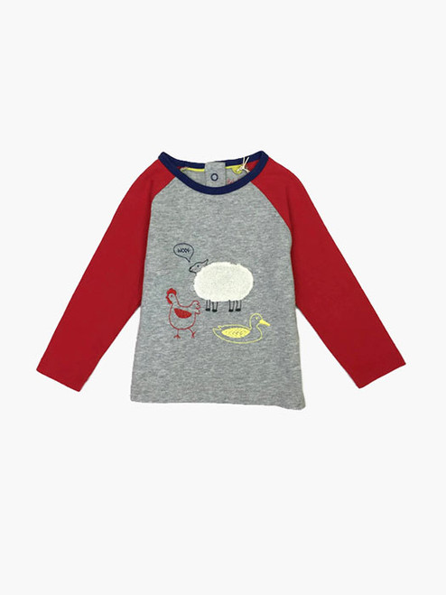 Gray Marl Farmyard T-Shirt, Baby Boys