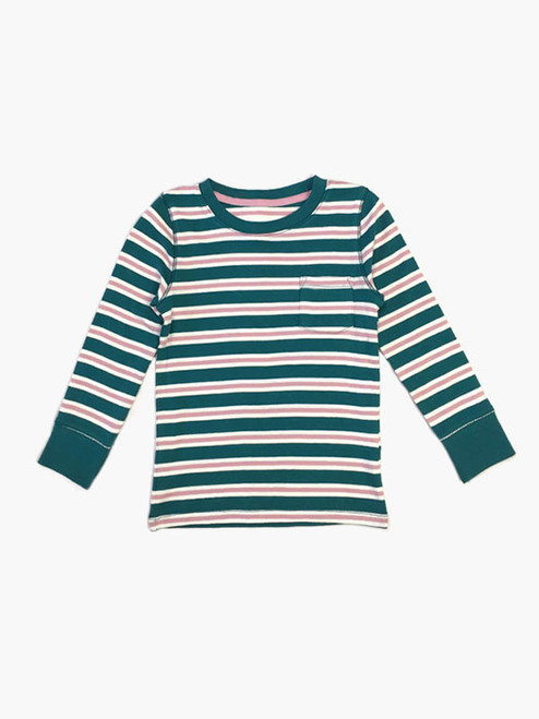 Green and Pink Striped Tee Shirt, Toddler/Little Girls