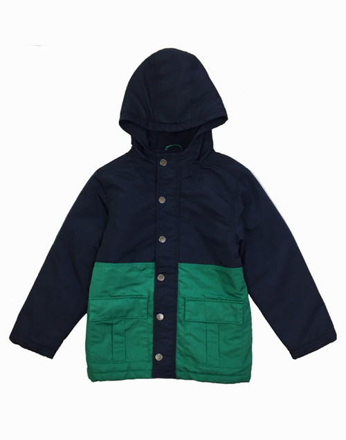 Navy Green Colorblock Jacket, Little Boys