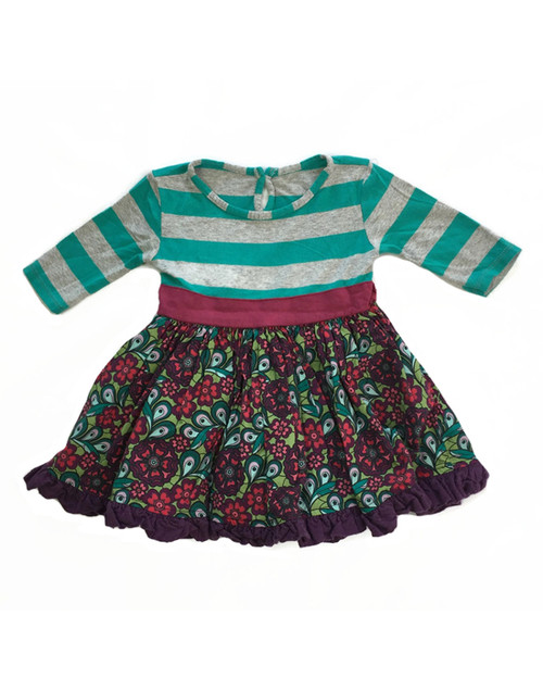 Plum and Turquoise Floral Tunic, Toddler Girls