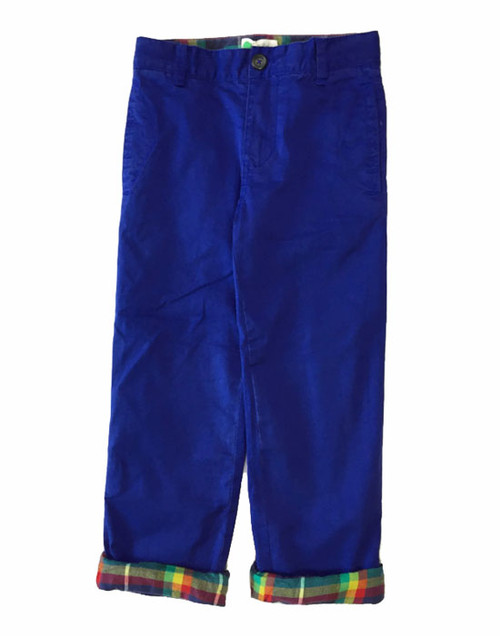 Royal Blue Lined Twill Pants, Little Boys