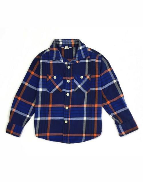 Plaid Flannel Button-Front Shirt, Little Boys