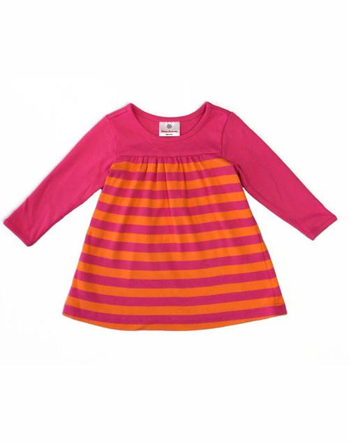 Orange Fuchsia Stripes Dress, Baby Girls
