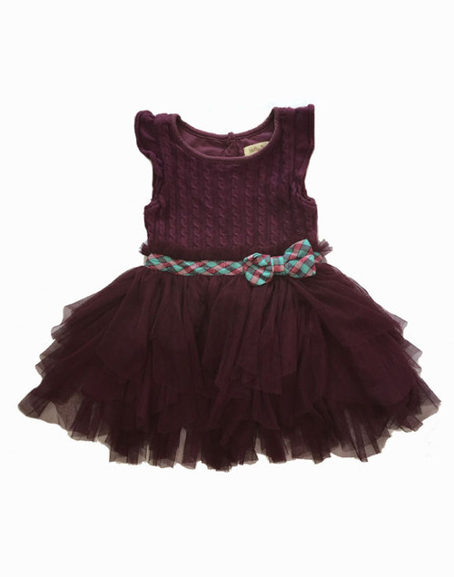 Plum Sweater Tutu Dress, Toddler Girls