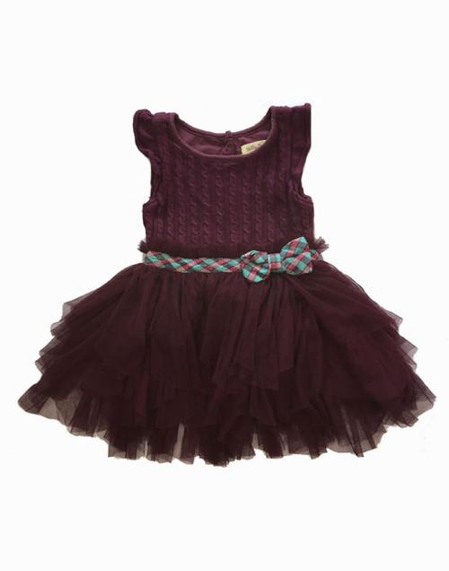 Plum Tulle Tutu Dress, Toddler Girls