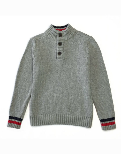 Gray Mockneck Pullover Sweater, Little Boys