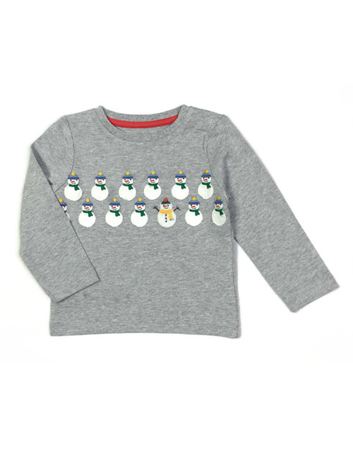 Gray Snowman Tee Shirt, Baby Boys
