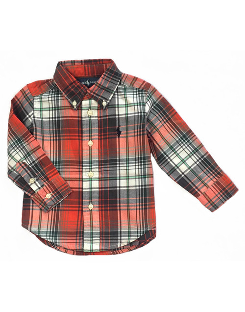 Green & Orange Plaid Button-down Shirt, Toddler Boys