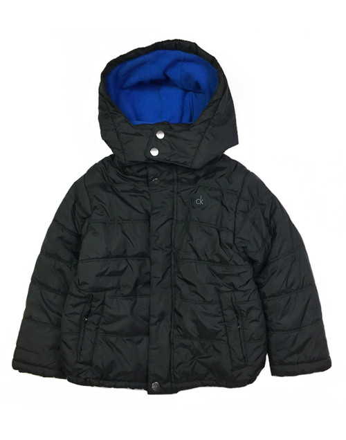 Black Hooded Bubble Jacket, Little Boys