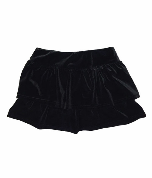Black Velour Tiered Skort, Little Girls