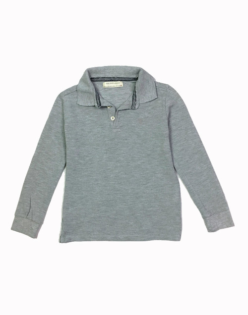 Gray Marl Pique Polo, Little Boys