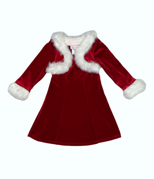 Sparkly Red Velvet Santa Dress, Toddler Girls