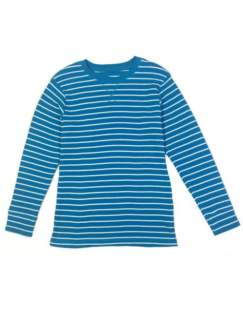 Teal Striped Thermal Top, Litle Boys