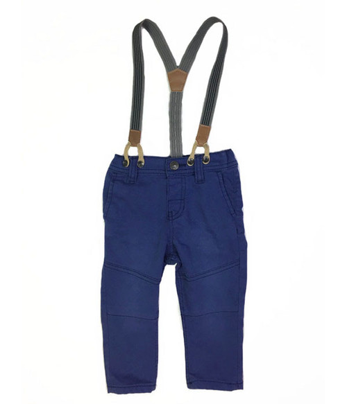 Blue Twill Pants with Suspenders, Baby Boys