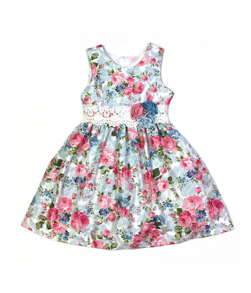 Pink & Patel Blue Floral Print Dress, Little Girls