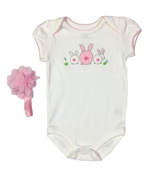 Pink & White Bunny Bodysuit, Baby Girls