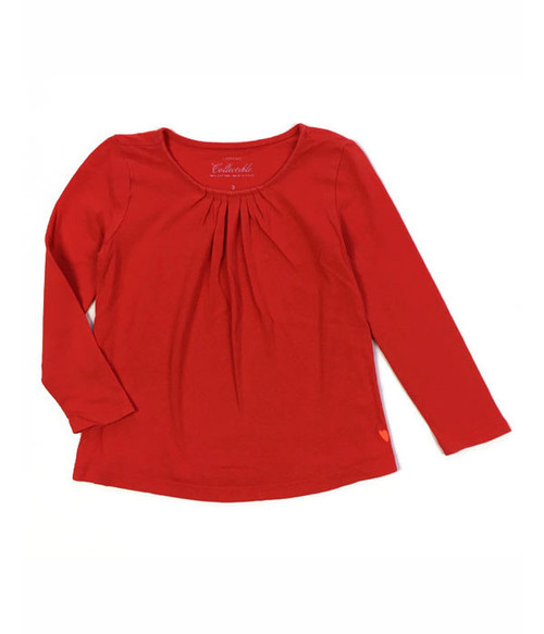 Red Pleated Long-Sleeve Tee, Toddler Girls