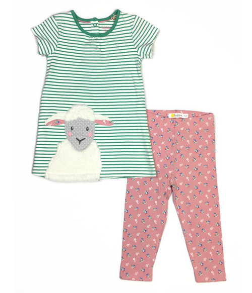 Green Lamb Farmyard Dress and Leggings Set, Baby Girls