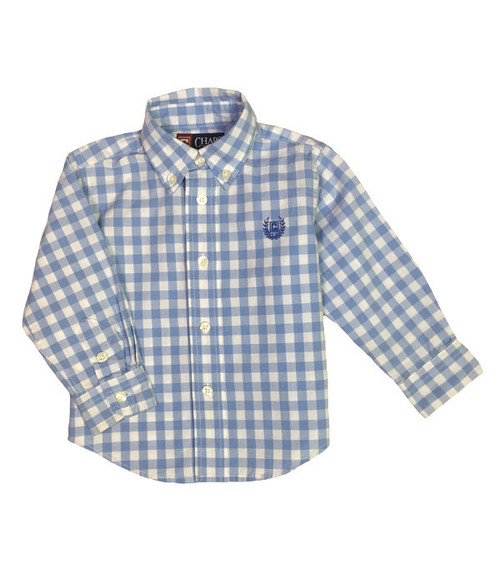Blue/White Checkered Button-Down Shirt, Baby Boys