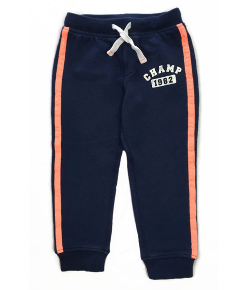 Navy & Orange Jogger Pants, Toddler Boys