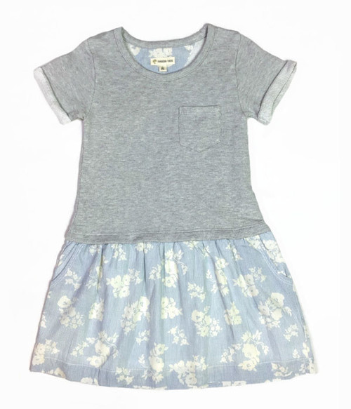 Gray Ash Heather Floral Dress, Little Girls