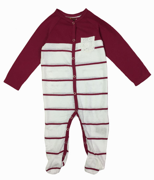 Raspberry Striped Footie, Baby Girl