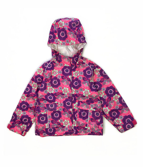 Purple Floral Light Rain Jacket,  Toddler Girls