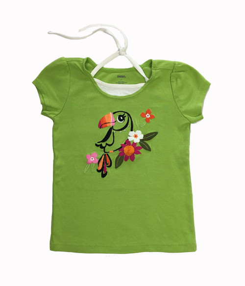 Green Embroidered Toucan Top, Little Girl