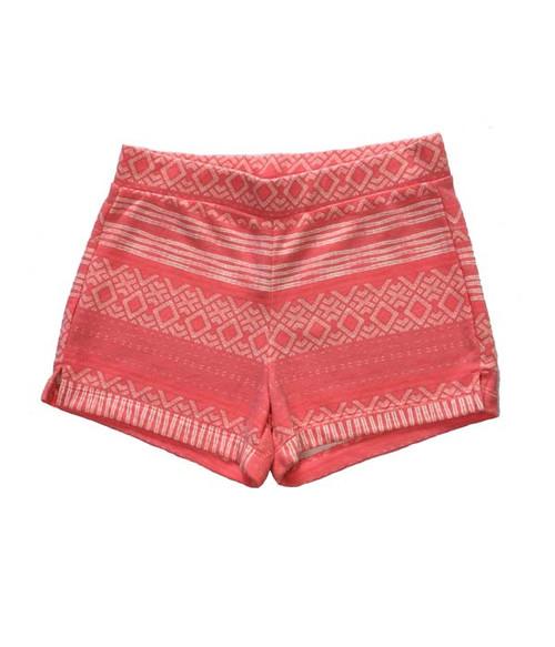 Coral Geo Printed Shorts, Big Girls