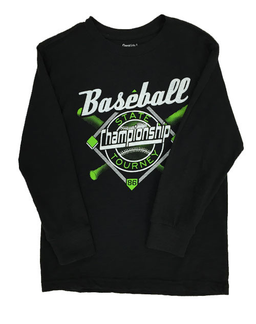 Black Baseball Graphic Tee, Little Boys