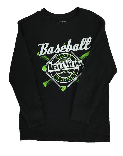 Black Baseball Graphic Tee, Little Boys