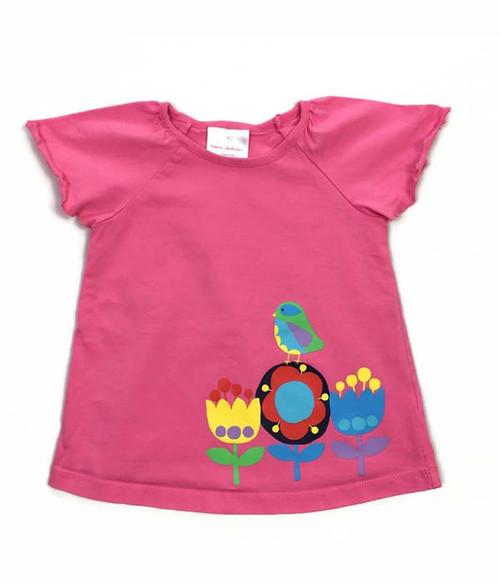 Pink Flower & Bird Top, Toddler Girls