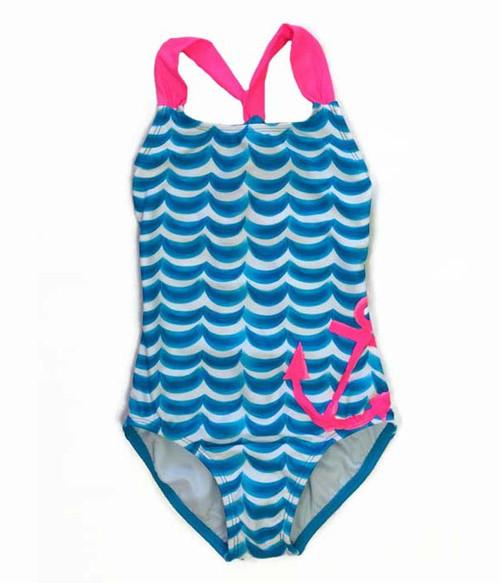 Blue Wave One-Piece Swimsuit, Little Girls