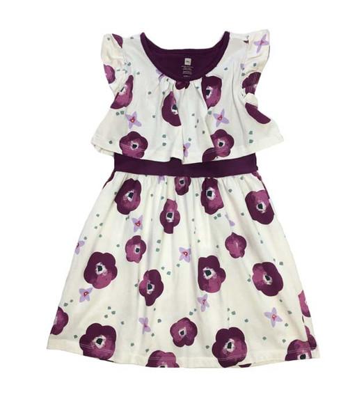 Purple Flowers Swing Dress, Little Girls
