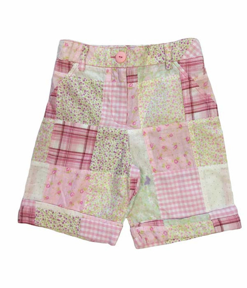 Pink Floral Patchwork Shorts, Baby Girls