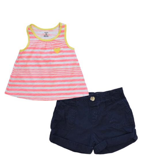 Summer Tank and Navy Shorts, Toddler Girls