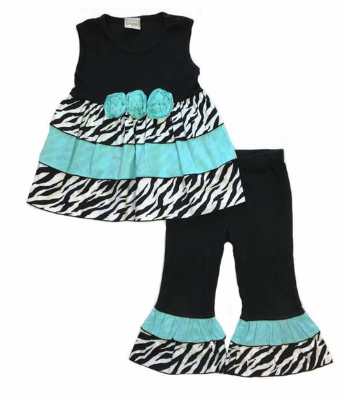 Blue Zebra Rumba Tunic Set, Toddler Girls