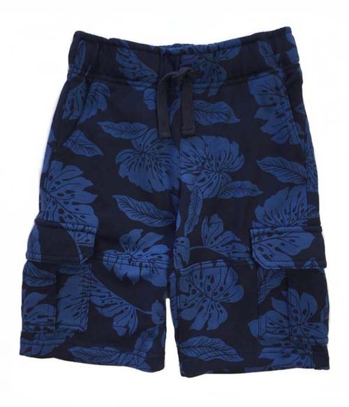 Blue Tropical Leaf Cargo Shorts, Little Boys