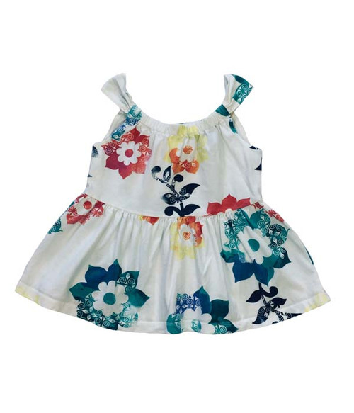 White Floral Tie-Back Top, Toddler Girls