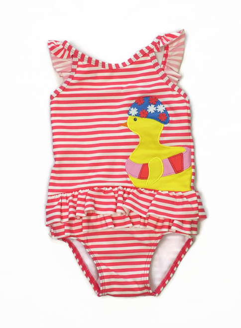 Pink/Ivory Ducky Swimsuit, Baby Girls