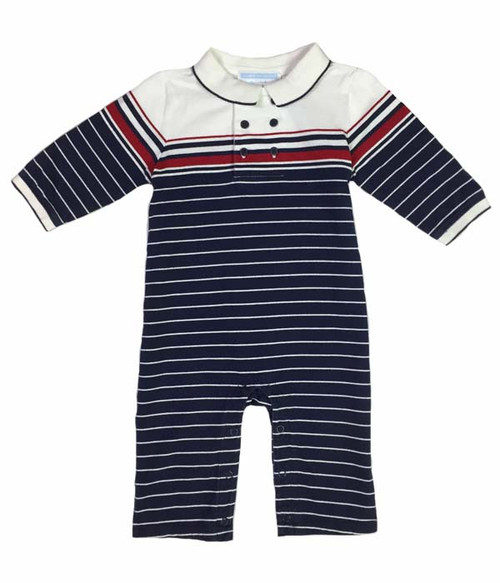 Navy/White Striped One-Piece, Baby Boys