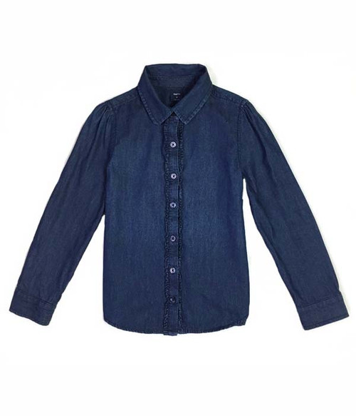 Dark Indigo Chambray Ruffle Shirt, Little Girls