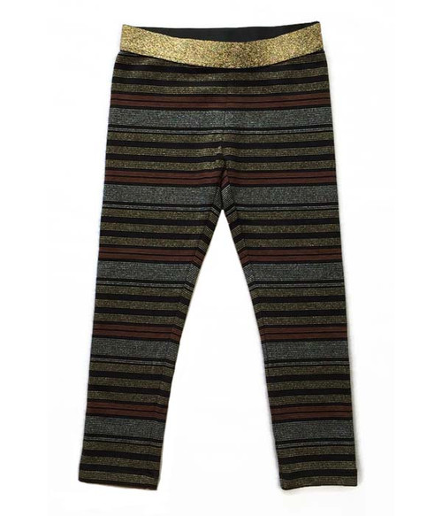 Black/Gold Metallic Striped Leggings, Toddler Girls