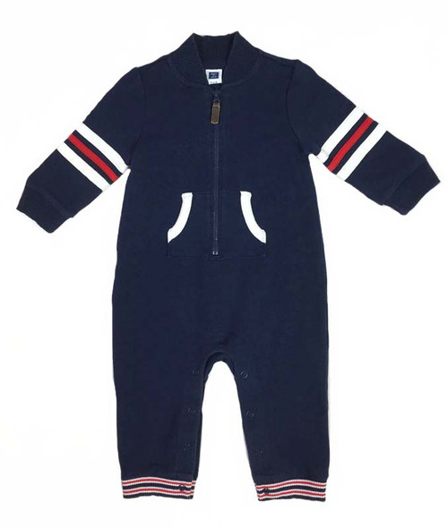Navy with Red and White Trim One-Piece, Baby Boys