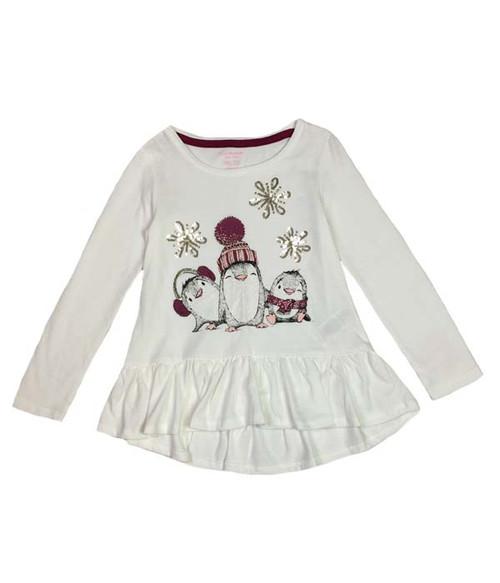 Sequin Snowflakes Penguin Peplum Tee, Toddler Girls