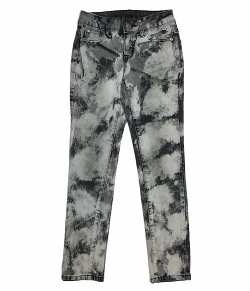 Gray/Black Tie Dye Jeans, Big Girls