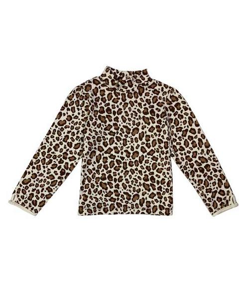 Leopard Print Turtleneck Shirt, Little Girls