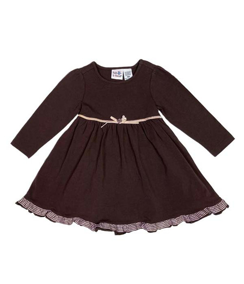 Brown Gingham Ruffle Dress, Baby Girls