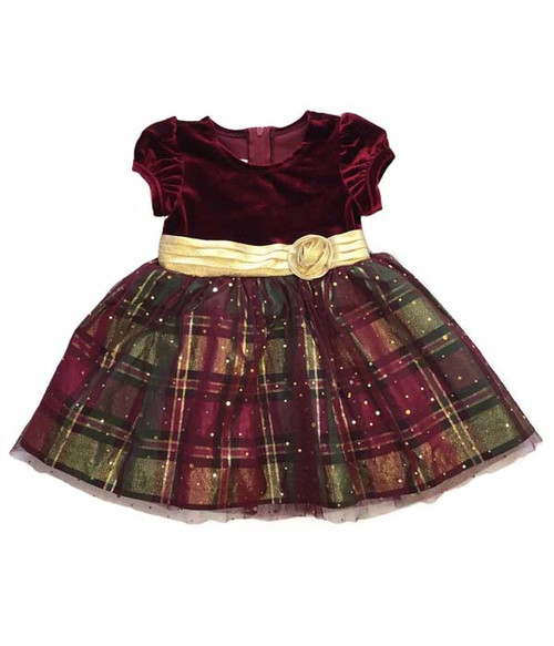 Red/Gold Velvet Plaid Dress, Baby Girls