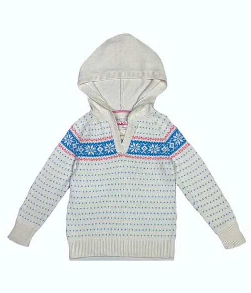 Snowflakes Hooded Sweater, Little Girls